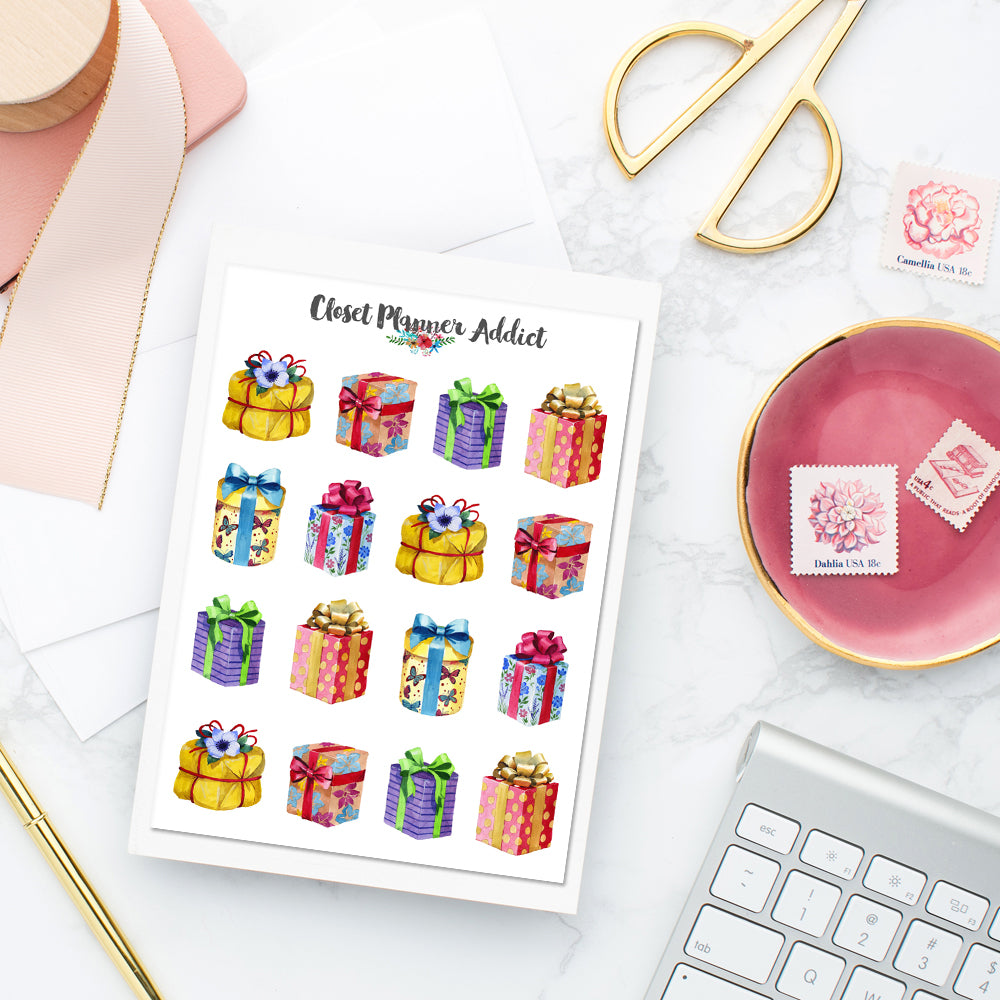 Watercolour Gift Boxes Planner Stickers (S-413)