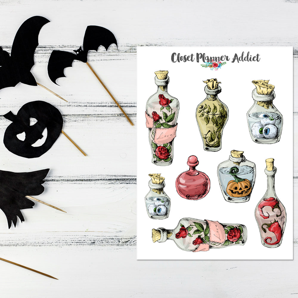 Witch's Potions Planner Stickers | Halloween Stickers (S-414)