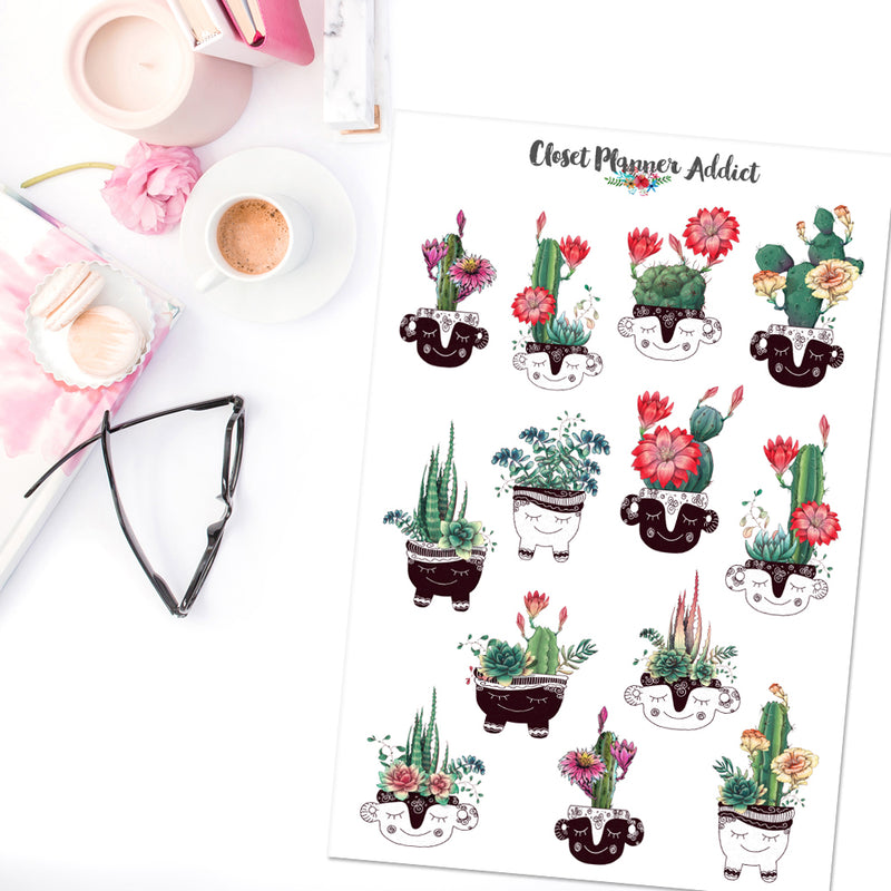 Cactus and Succulent Planner Stickers (S-418)