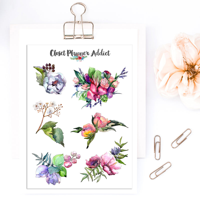 Watercolour Floral Bouquet Planner Stickers (S-419)