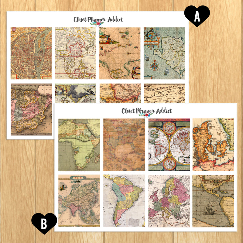 Vintage Maps Planner Stickers (S-423)