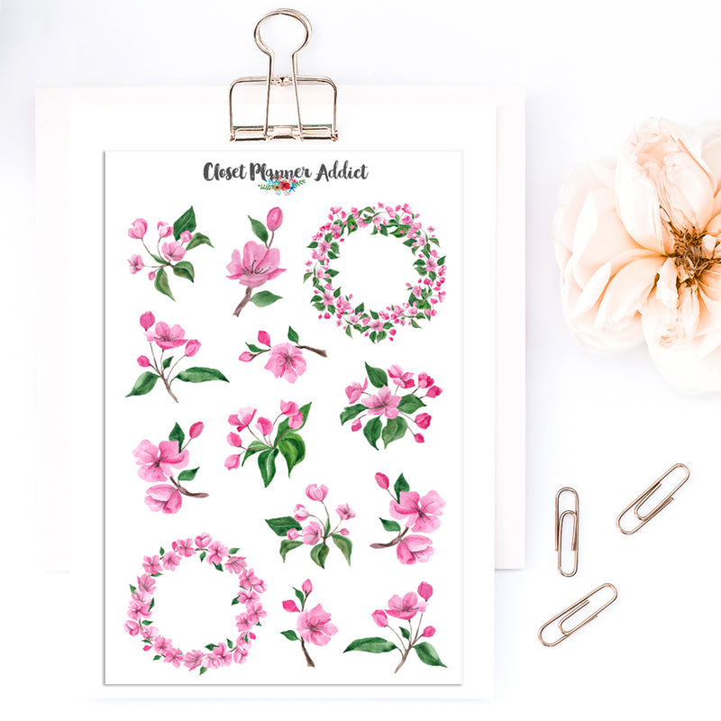 Cherry Blossoms Planner Stickers (S-430)