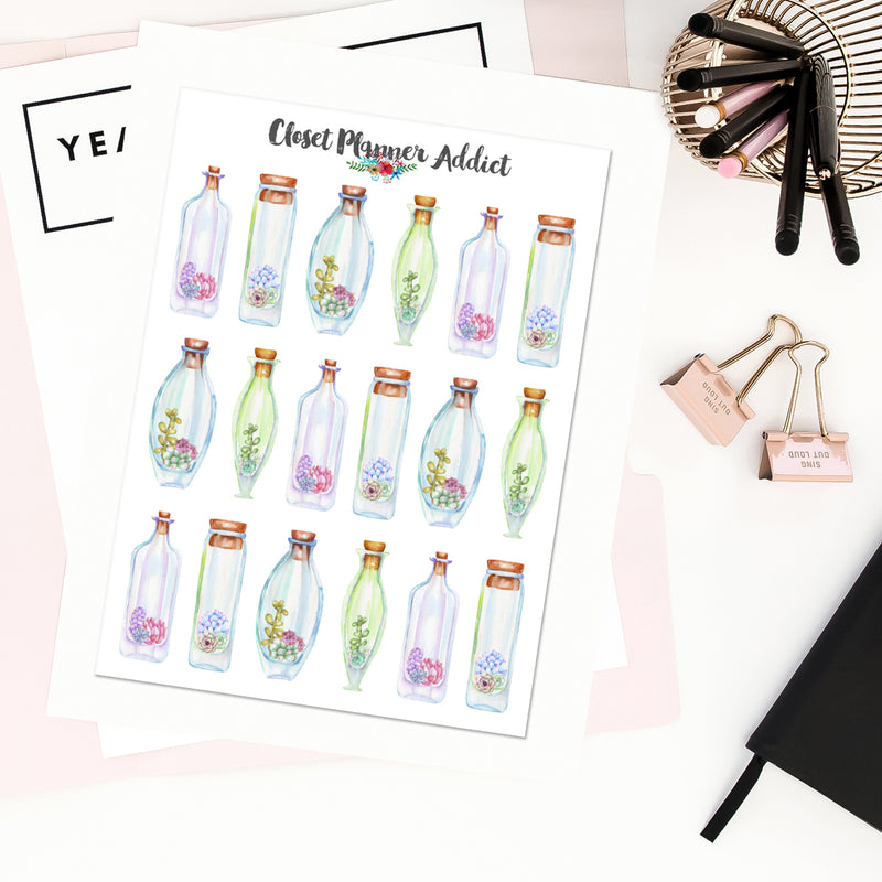 Watercolour Succulents in Terrariums Planner Stickers (S-432)