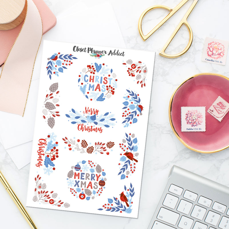 Blue and Red Christmas Planner Stickers (S-437)
