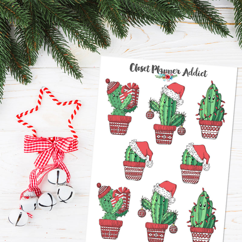 Christmas Cactus Planner Stickers (S-439)