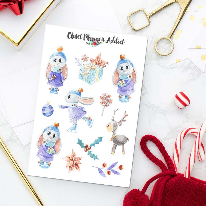 Winter Bunnies Planner Stickers (S-440)