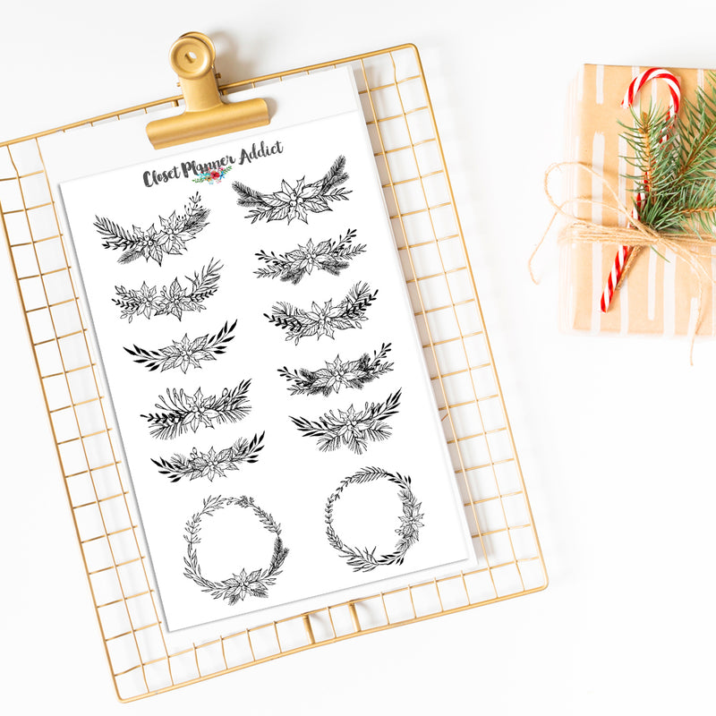 Christmas Floral Wreath Planner Stickers (S-443)