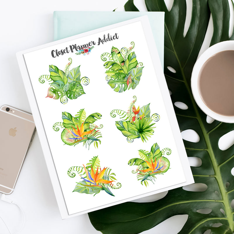 Summer Tropical Bouquets Planner Stickers (S-451)