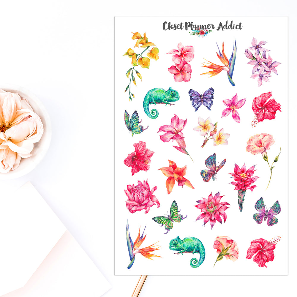 Summer Tropicals Planner Stickers (S-452)