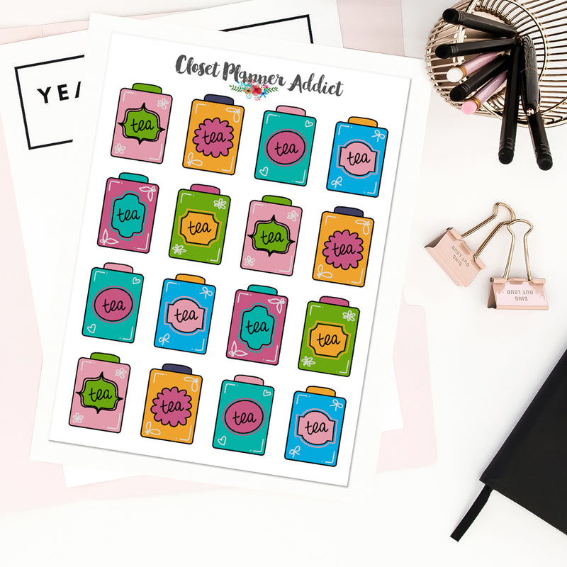 Vintage Tea Tins Planner Stickers (S-459)