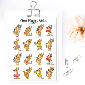 Summer Kangaroos Planner Stickers (S-461)