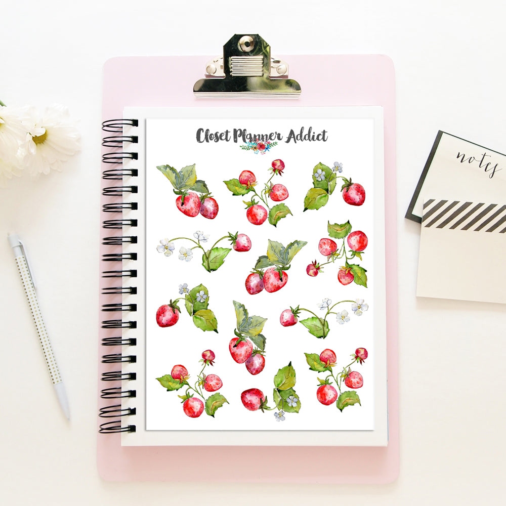 Watercolour Strawberries Stickers (S-462)