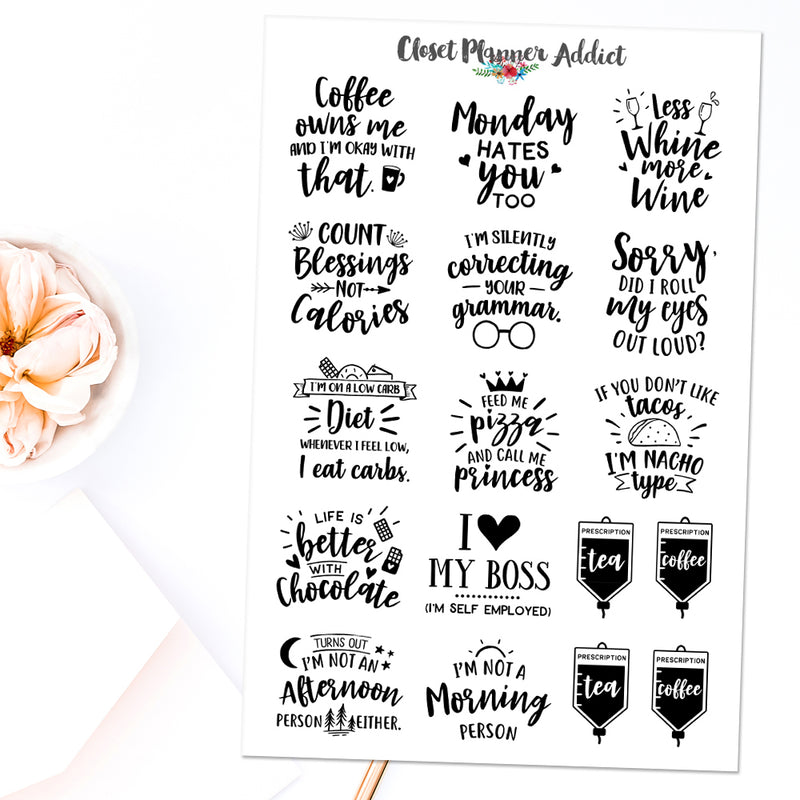 Sassy Quotes Planner Stickers (S-470)