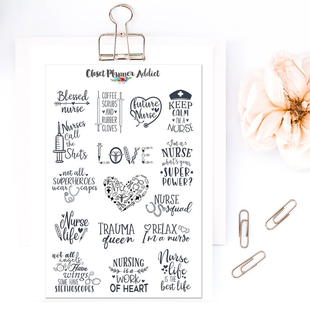 Nurse Life Quotes Planner Stickers (S-471)