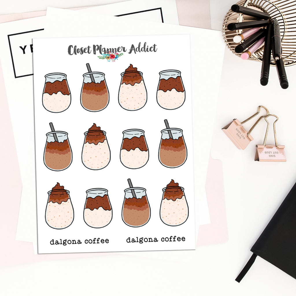 Dalgona Coffee Planner Stickers (S-474)
