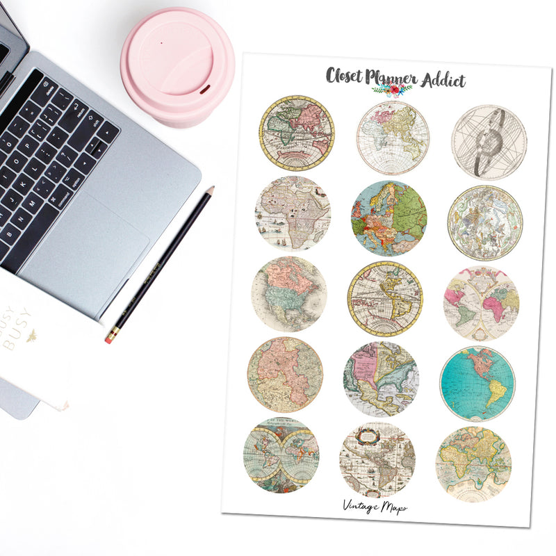Vintage Maps Planner Stickers And Washi Strips (S-479)