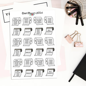 Funny Toilet Paper Planner Stickers (S-483)