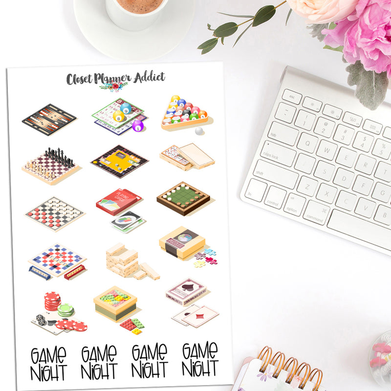 Game Night Planner Stickers (S-484)