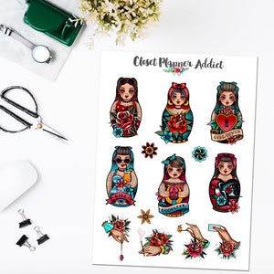 Russian Dolls and Hand Tattoos Planner Stickers | Matryoshka Dolls (S-486)