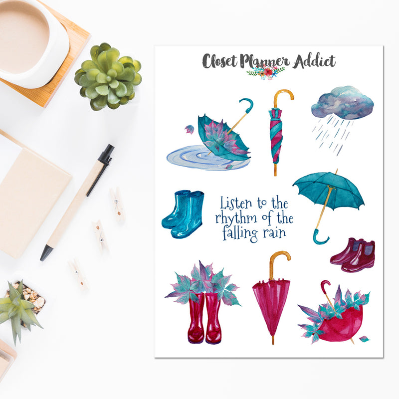 Rhythm of the Falling Rain Planner Stickers (S-488)