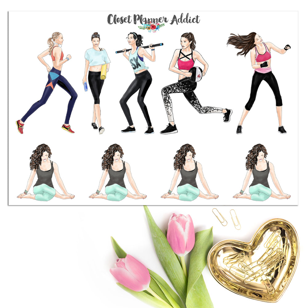 Workout Ladies Planner Stickers (S-491)