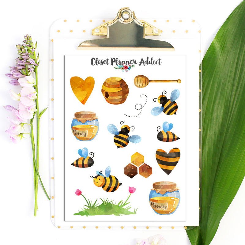 Honey Bees and Honey Pot Planner Stickers (S-494)