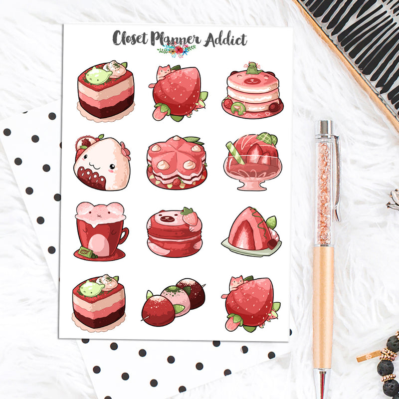 Strawberry Desserts Planner Stickers (S-495)