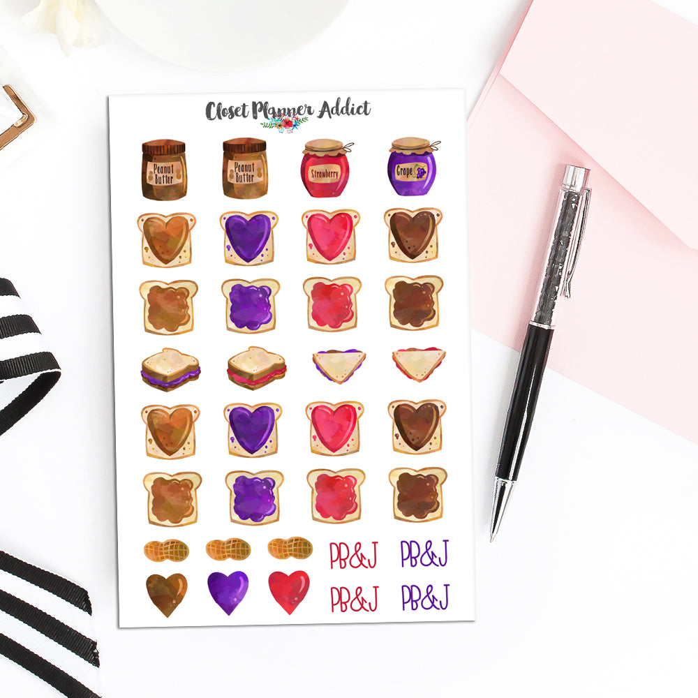 Peanut Butter and Jelly Sandwich Planner Stickers (S-496)