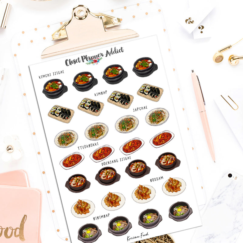 Korean Food Planner Stickers (S-498)