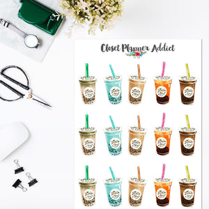 Bubble Tea Planner Stickers (S-500)
