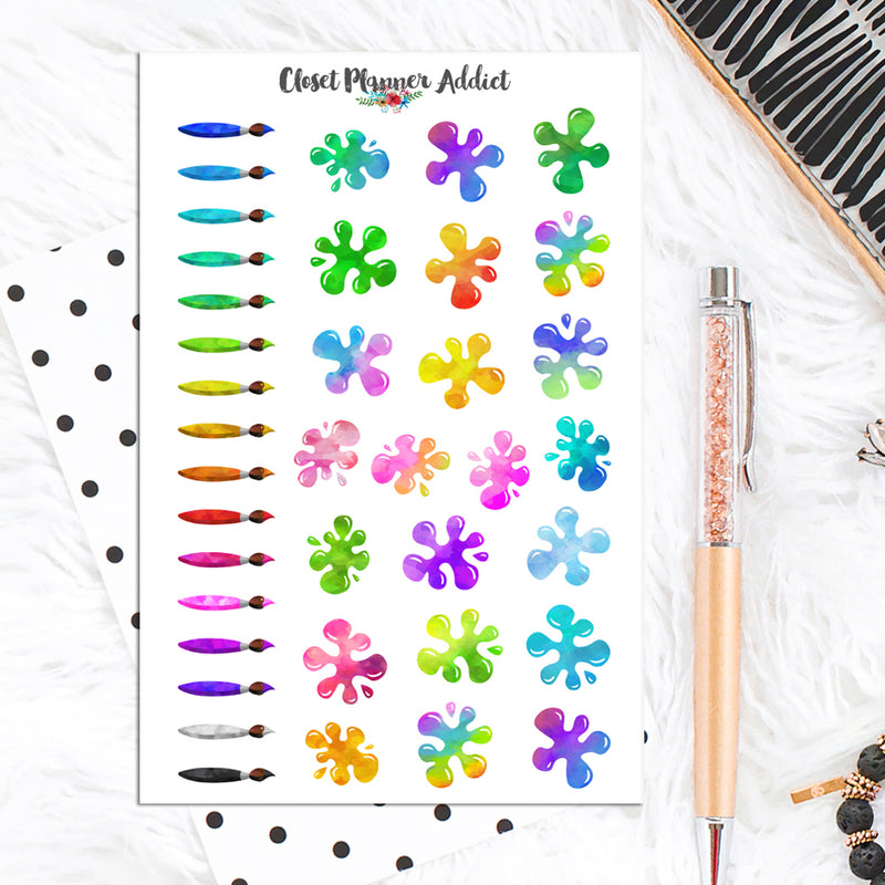 Watercolour Paintbrushes and Paint Splats Planner Stickers (S-502)