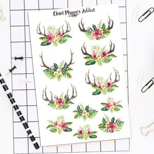 Tropical Boho Skulls Planner Stickers (S-505)