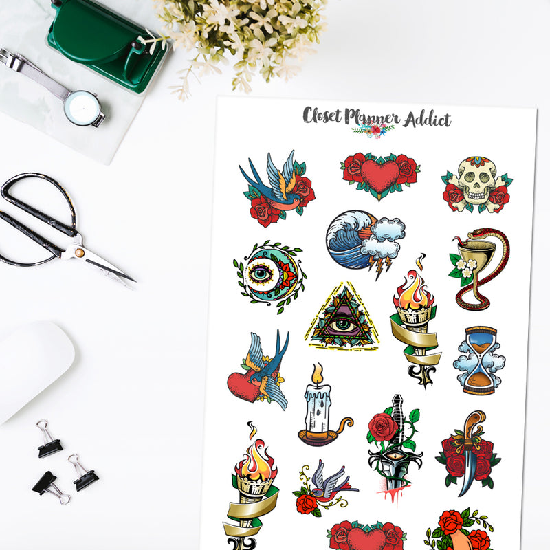 Vintage Tattoo Planner Stickers (S-506)