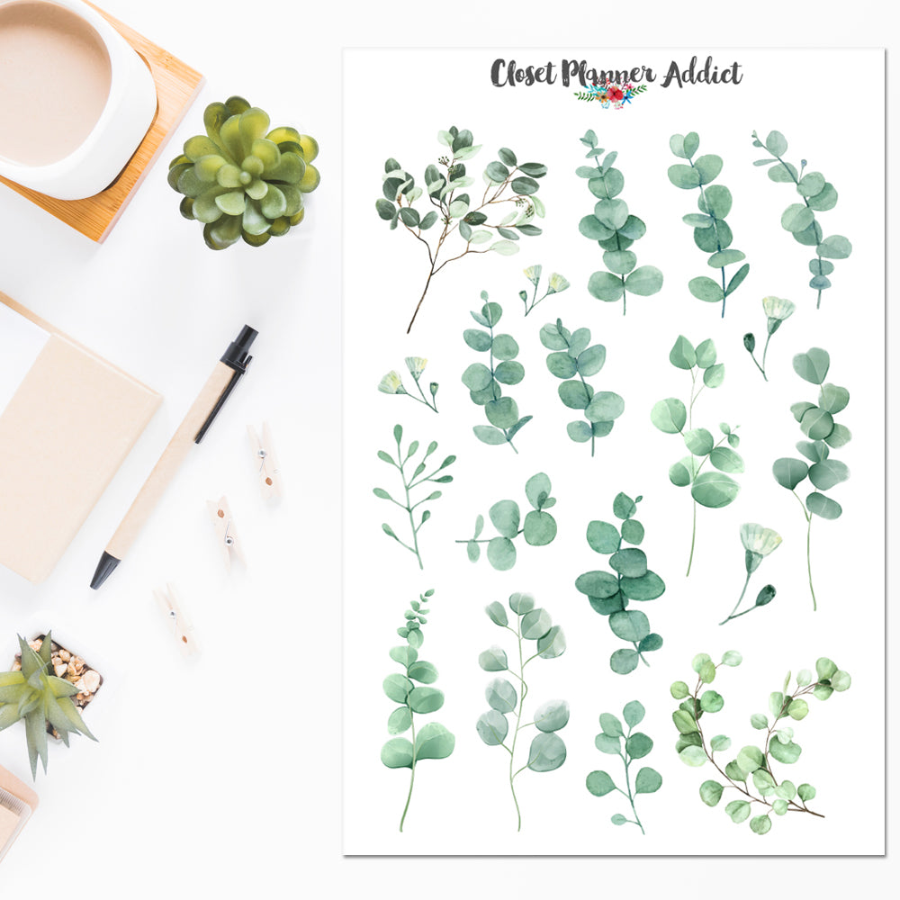 Watercolour Eucalyptus Leaves Planner Stickers (S-508)