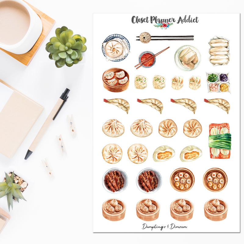 Dumplings and Dimsum Planner Stickers | Yumcha Stickers (S-511)