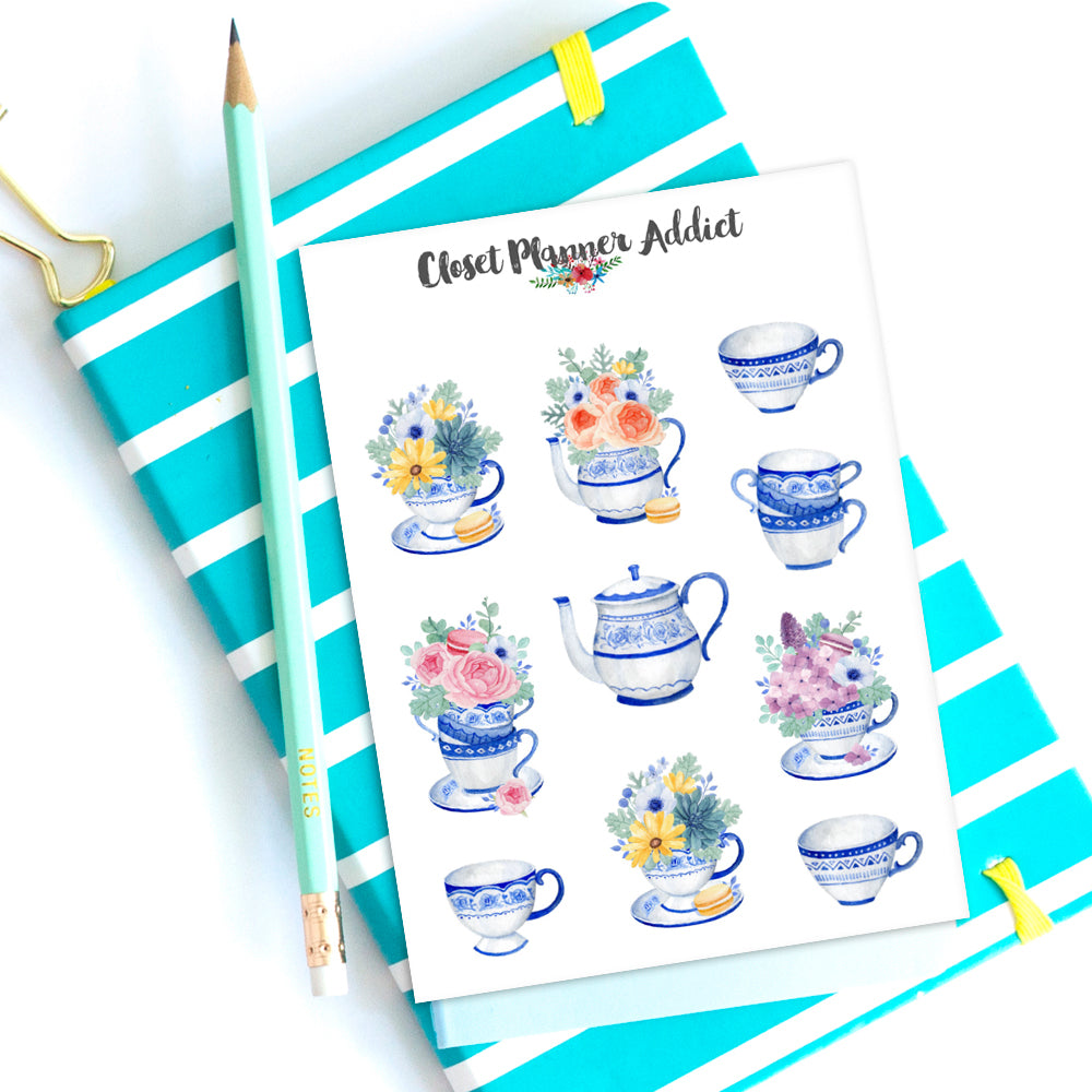 Flowers In Blue China Planner Stickers (S-514)