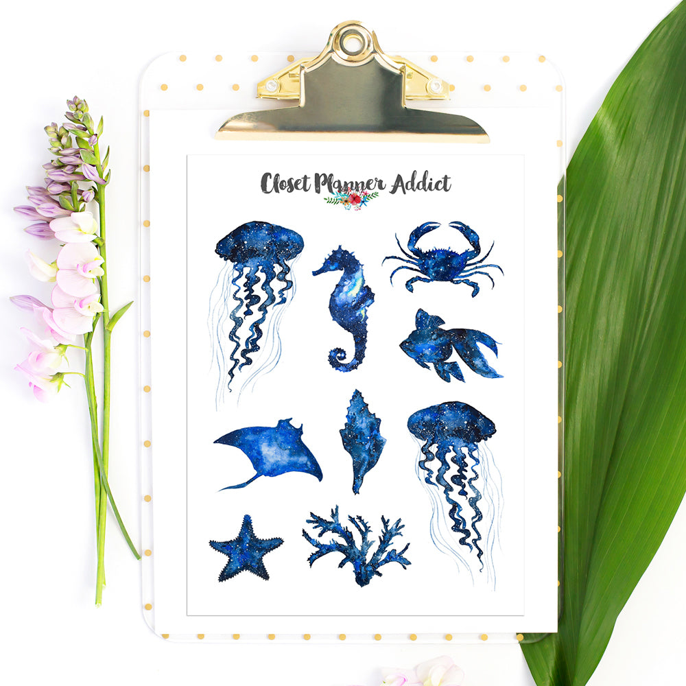 Galaxy Sea Creatures Planner Stickers (S-515)