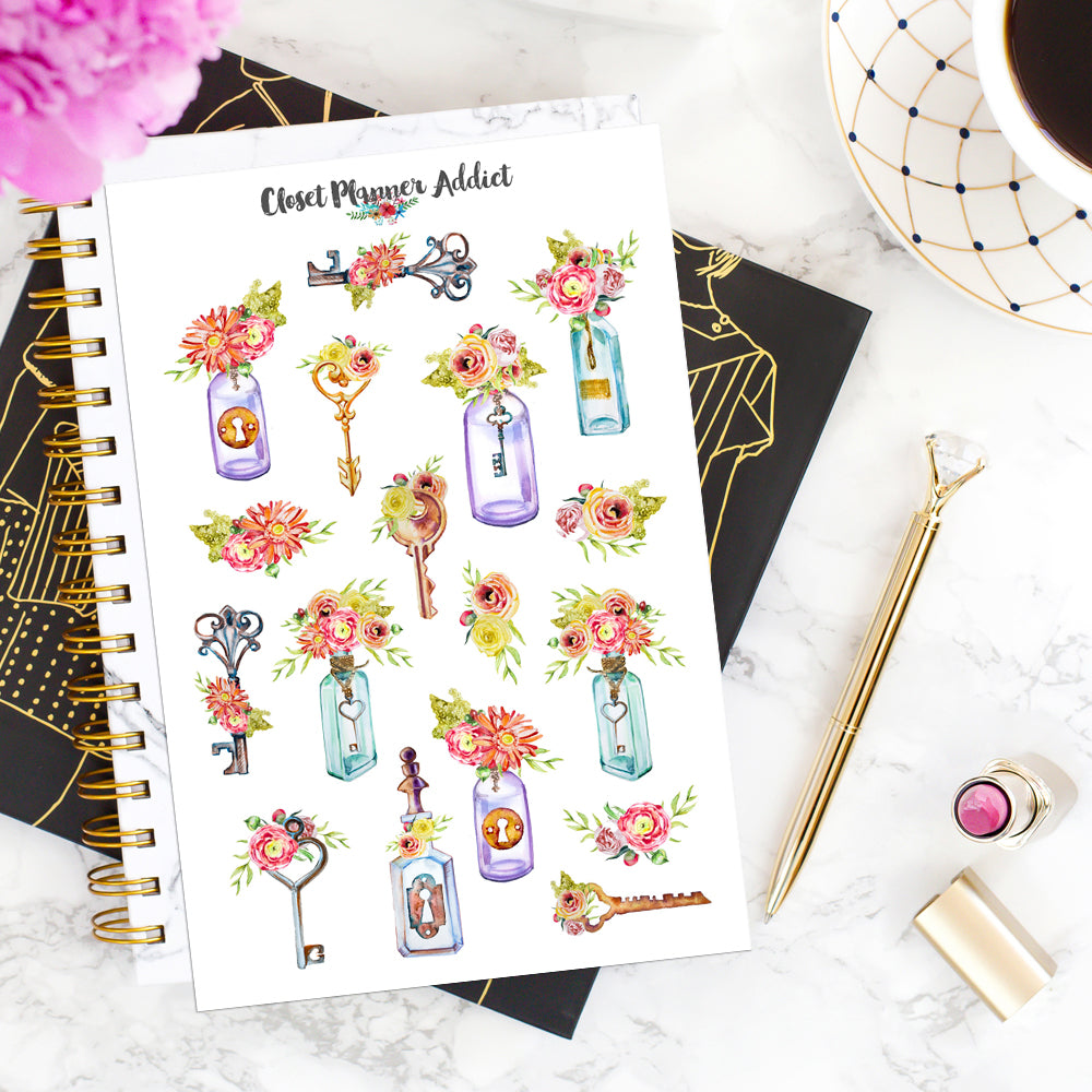 Watercolour Keys and Bottles Planner Stickers (S-517)