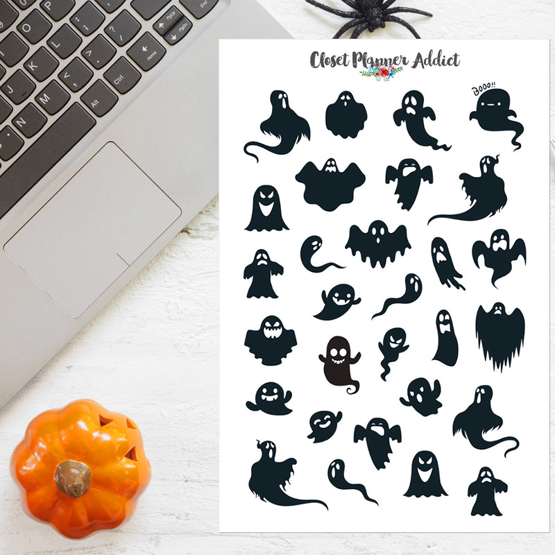 Halloween Ghosts Planner Stickers (S-519)