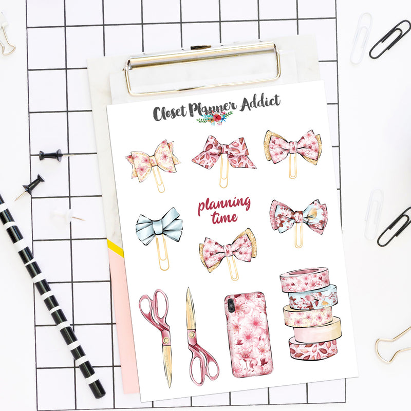Cherry Blossom Planner Stationery Stickers (S-523)