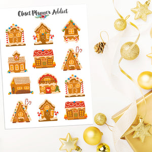 Gingerbread Houses Planner Stickers (S-528)
