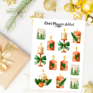 Christmas Candles Planner Stickers (S-529)