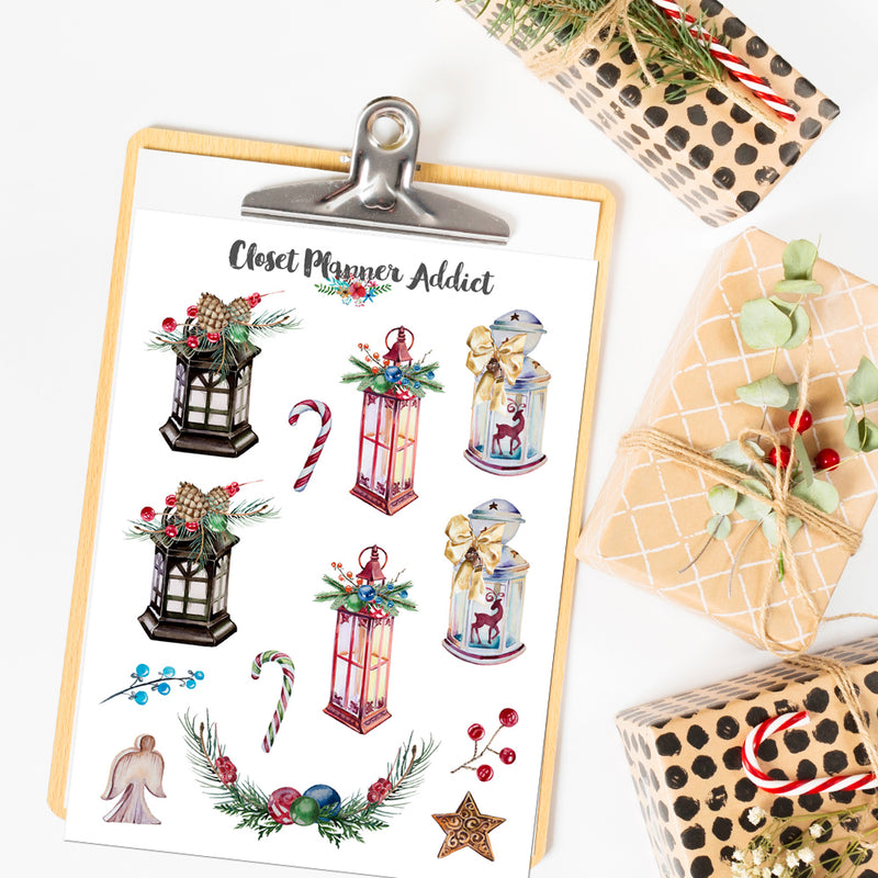 Christmas Lanterns Planner Stickers (S-531)