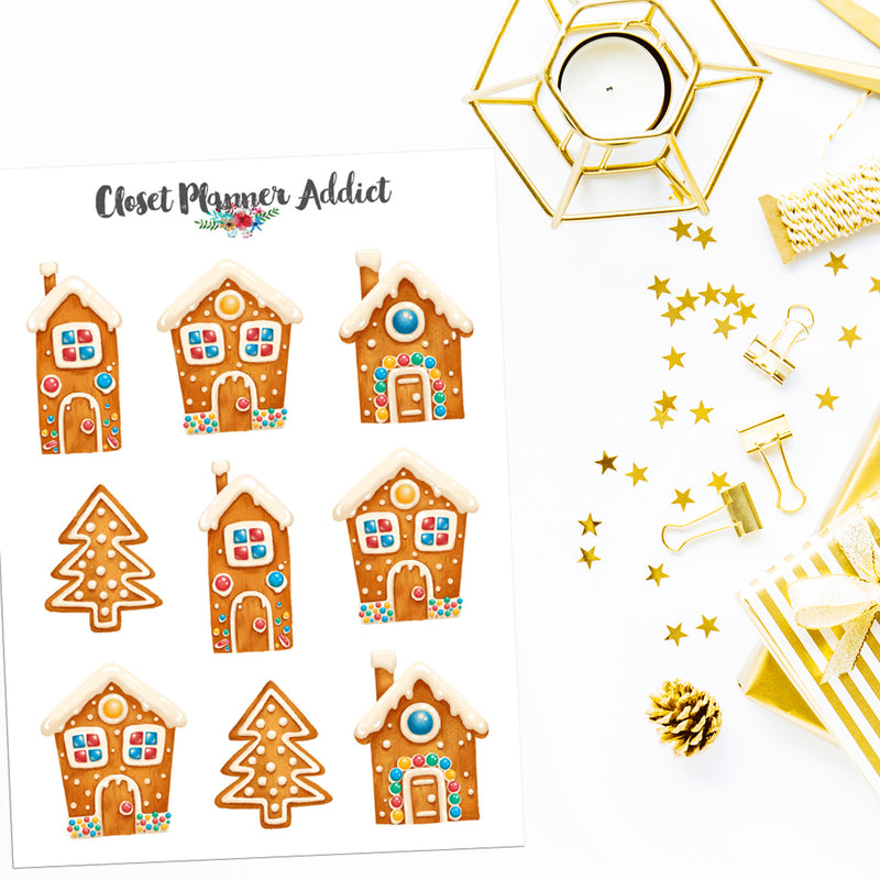 Gingerbread Houses Planner Stickers (S-532)
