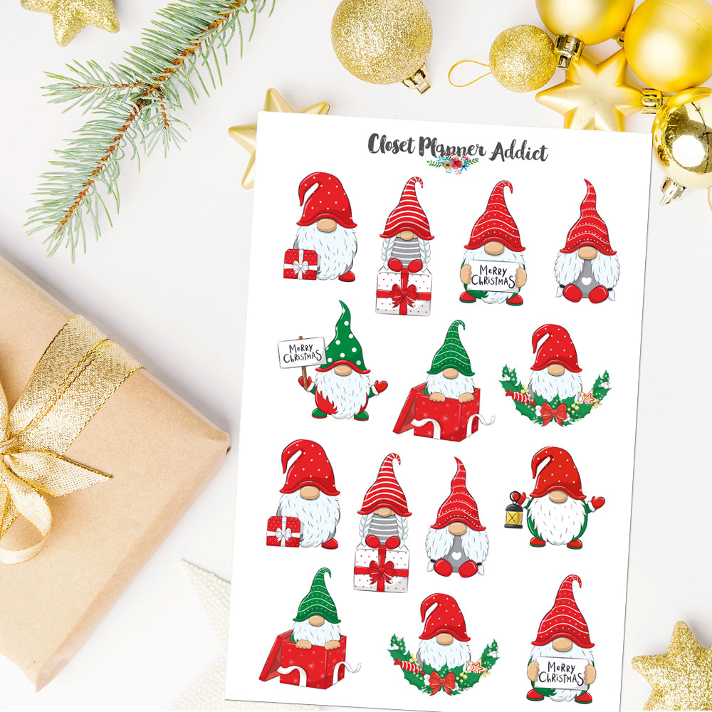 Christmas Gnomes Planner Stickers (S-534)