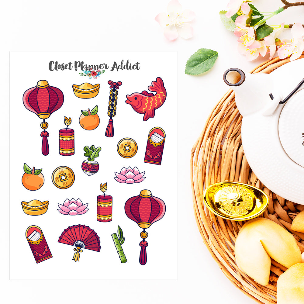 Chinese New Year Planner Stickers | Lunar New Year Stickers (S-538)