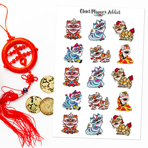 Lion Dance Planner Stickers | Chinese New Year Stickers | Lunar New Year Stickers (S-540)