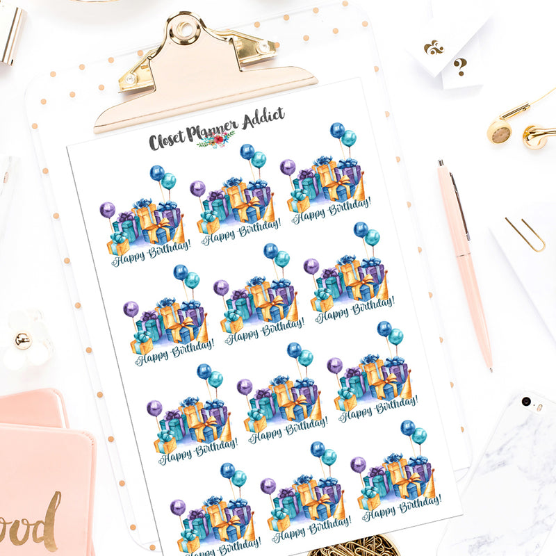 Happy Birthday Planner Stickers (S-541)