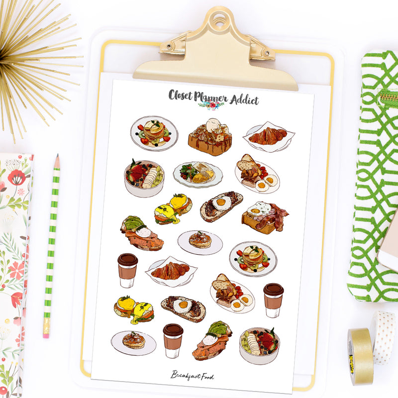 Breakfast  Food Planner Stickers by Closet Planner Addict (S-542)
