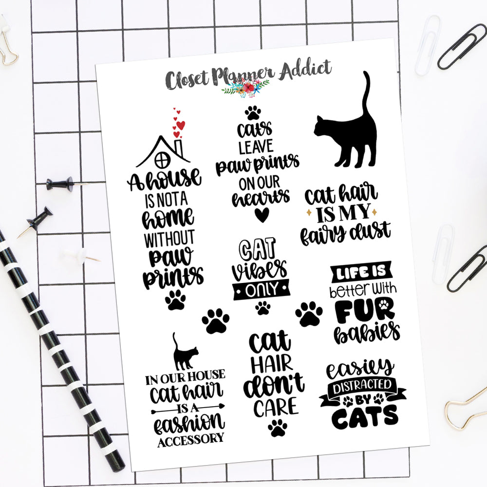 Cat Lovers and Quotes Planner Stickers by Closet Planner Addict (S-543)